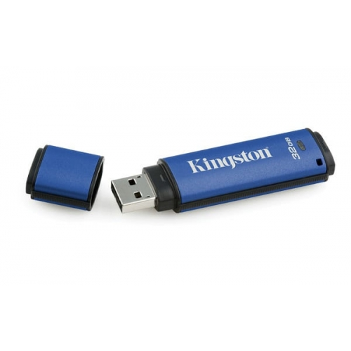 USB disk Kingston 32GB DT Vault Privacy 30, 3.0, moder, strojna zaščita (DTVP30/32GB)