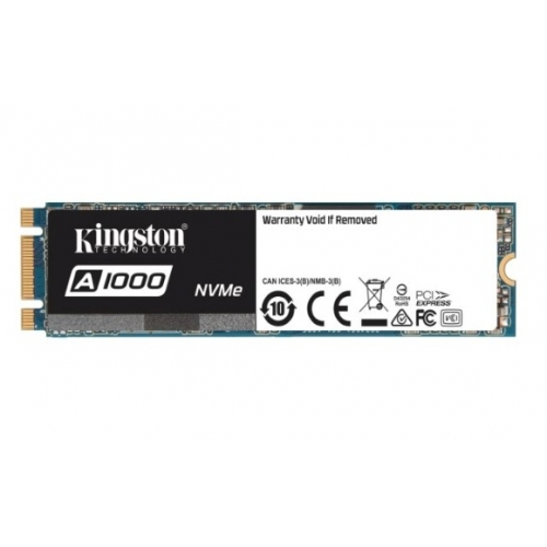 SSD Kingston M.2 PCIe NVMe 480GB A1000, 1500/900 MB/s, PCIe Gen 3 x2, 3D TLC NAND (SA1000M8/480G)
