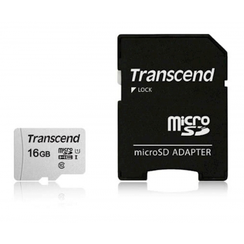 SDHC TRANSCEND MICRO 16GB 300S, 95/45MB/s, C10, UHS-I Speed Class 1 (U1), adapter