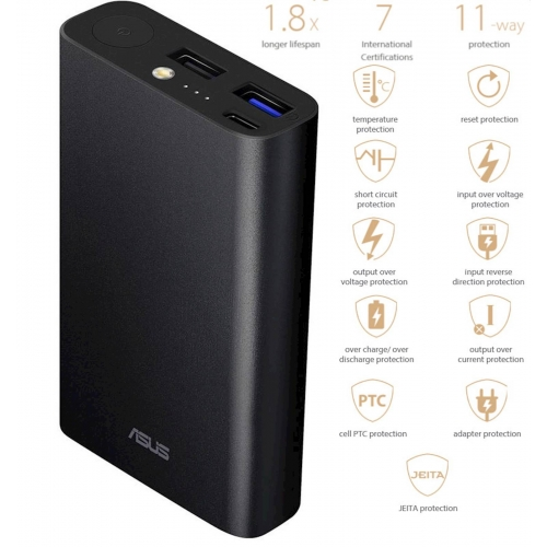 Prenosna baterija powerbank ASUS ZenPower 10050C (QC), Triple port, Quick Charge 3.0, USB-C, črna